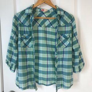 Blue Forever 21 plaid shirt